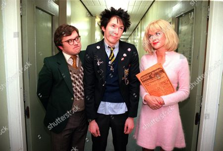 'The Grimleys' TV - Series 3 - 2001 - School punk Darren Grimley (Ryan Cartwright) gets into trouble after he takes over the school paper and causes a few problems with his sensational headlines.  Unhappy Gordon Grimley - left (James Bradshaw) and Miss Titley (Amanda Holden).