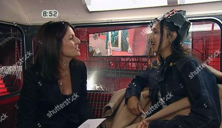 Davina McCall and Beinazir on the bus after her eviction