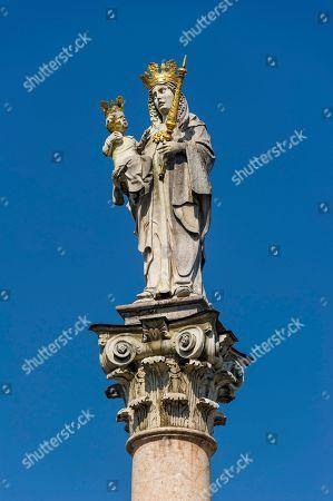 Stock Picture of Statue of the Virgin Mary, Patrona Bavariae, Marian Column, Marienplatz, Freising, Upper Bavaria, Bavaria, Germany