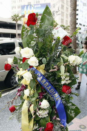 Floral tributes on the 'David Carradine Star'