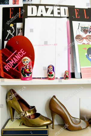 Editorial image of Shoe designer, Jonathan Kelsey in his office in St George's Mews, London, Britain - 26 May 2009