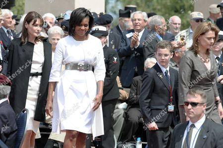 French First Lady Carla Bruni-Sarkozy, US First Lady Michelle Obama, Louis Sarkozy and Sarah Brown