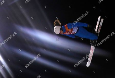 Ashley Caldwell of the US in action during the Women's Freestyle Skiing Aerials qualification at the Bokwang Phoenix Park during the PyeongChang 2018 Olympic Games, South Korea, 15 February 2018.