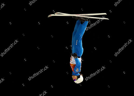 Ashley Caldwell, of the United States, jumps during the women's aerials qualifying at Phoenix Snow Park at the 2018 Winter Olympics in Pyeongchang, South Korea