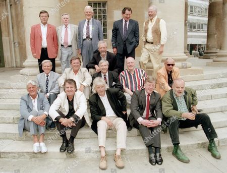 Former Radio 1 Disc Jockeys outside the BBC. L-R top row: Tony Blackburn, Jimmy Young, Robin Scott, Dave Cash, Pete Brady. Middle row: Bob Holness, Terry Wogan, Duncan Johnson, Keuth Skews, Chris Denning, Pete Myers. Front row: Pete Murray, Ed Stewart, Pete Drummond, Mike A'Hearne, John Peel.