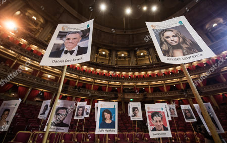 Photos of Daniel Day Lewis and Jennifer Lawrence arranged in the seating plan at London's Royal Albert Hall ahead of the EE British Academy Film Awards on Sunday 18th February