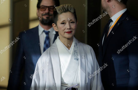 Mari Natsuki arrives for a photo-call for the movie 'Isle of Dogs' during the 68th edition of the Berlinale Berlin Film Festival in Berlin, Germany