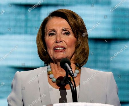 Congresswoman Nancy Pelosi addresses the Democratic National Nominating Convention in the Wells Fargo Arena.