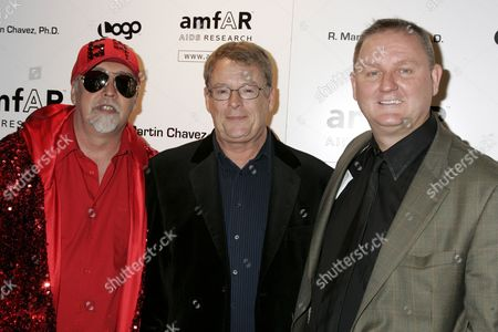 Gilbert Baker, Cleve Jones, Honoree and Kevin Frost, amfAR CEO