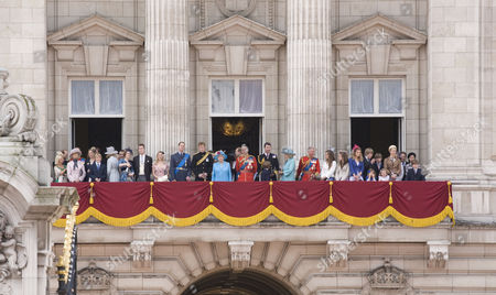 Members of the Royal family inc George Windsor, The Earl of St Andrews, Princess Alexandra of Kent, Prince William, Prince Harry, Queen Elizabeth II, Prince Edward, Prince Philip, Tim Laurence, Camilla, Camilla Duchess of Cornwall, Prince Charles, Columbus Taylor, Cassius Taylor, Lady Helen Taylor, Viscount David Linley and Lady Sarah Chatto