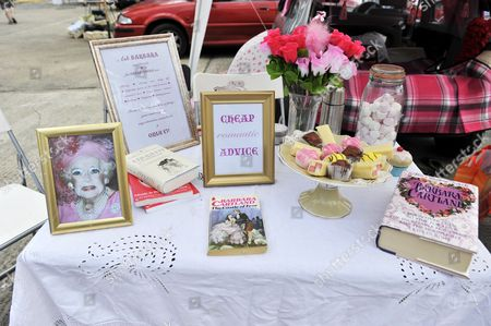 The Barbara Cartland inspired romantic advice brothel stall by artist Anouchka Grose