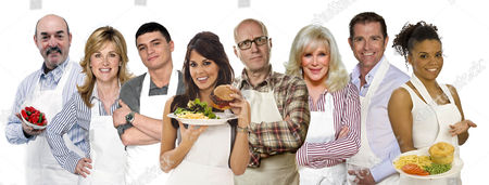 'Hells Kitchen'  TV - 2009 - on Monday 13 April Bruce Grobbelaar, Anthea Turner, Jody Latham, Danielle Bux, Adrian Edmondson, Linda Evans, Grant Bovey and Niomi Daley (Ms Dynamite).