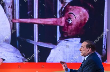 Stock Image of Italian former Prime Minister and Forza Italia (FI) leader Silvio Berlusconi attends the La7 TV program 'Tagada' hosted by journalist Tiziana Panella in Rome, Italy, 15 February 2018. Italy will hold general elections on 04 March.
