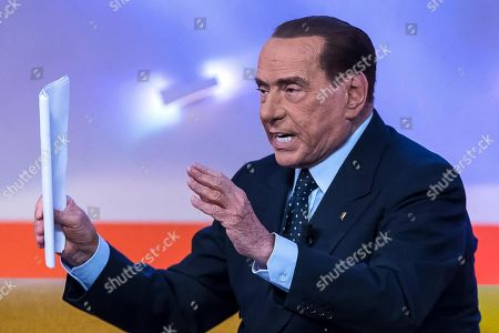 Italian former Prime Minister and Forza Italia (FI) leader Silvio Berlusconi (R) attends the La7 TV program 'Tagada' hosted by journalist Tiziana Panella in Rome, Italy, 15 February 2018. Italy will hold general elections on 04 March.