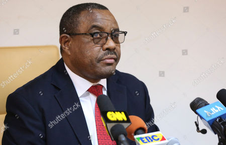 """Ethiopian Prime Minister Hailemariam Desalegn, during press conference in Addis Ababa, Ethiopia, . Desalegn announced that he has submitted a resignation letter after the worst anti-government protests in a quarter-century, saying he hoped the surprise decision would help planned reforms succeed and create a """"lasting peace"""