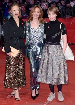 Sina Tkotsch (L), Anna Brueggemann (R) and Lavinia Wilson pose on the red carpet of the opening ceremony of the 68th annual Berlin International Film Festival (Berlinale), in Berlin, Germany, 15 February 2018. The Berlinale runs from 15 to 25 February.