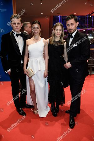 (L-R) German actors Max von der Groeben, Ayling Tezel, stage designer Aino Laberenz and actor Clemens Schick pose during the opening party after the screening of 'Isle of Dogs' at the 68th annual Berlin International Film Festival (Berlinale), in Berlin, Germany, 15 February 2018. The Berlinale runs from 15 to 25 February.