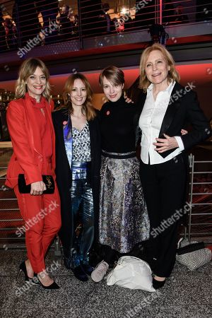 (L-R) German actresses Heike Makatsch, Lavinia Wilson, Anna Brueggemann and Maren Kroymann pose during the opening party after the screening of 'Isle of Dogs' at the 68th annual Berlin International Film Festival (Berlinale), in Berlin, Germany, 15 February 2018. The Berlinale runs from 15 to 25 February.