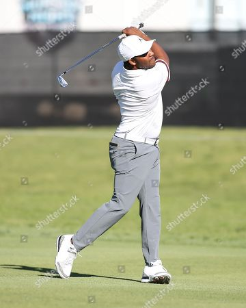 Los Angeles, CA...Harold Varner III, of the United States, watching his hsot on hole one during opening round of the Genesis Open at the Rivera Country Club in Los Angeles, Ca on , 2018. Jevone Moore
