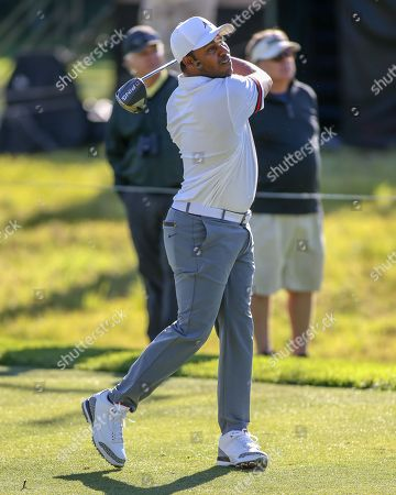Los Angeles, CA...Harold Varner III, of the United States, teeing off on the second hold during opening round of the Genesis Open at the Rivera Country Club in Los Angeles, Ca on , 2018. Jevone Moore