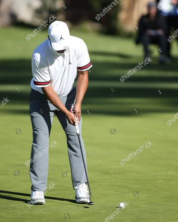 Los Angeles, CA...Harold Varner III, of the United States, putting on first hole during opening round of the Genesis Open at the Rivera Country Club in Los Angeles, Ca on , 2018. Jevone Moore