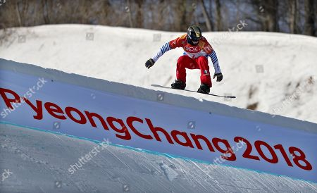 Nelly Moenne Loccoz of France in action during the Women's Snowboard Cross SBX qualification run at the Bokwang Phoenix Park during the PyeongChang 2018 Olympic Games, South Korea, 16 February 2018.