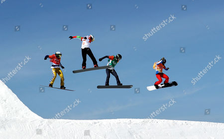 From left; Eva Samkova, of the Czech Republic, Alexandra Jekova, of Bulgaria, Lindsey Jacobellis, of the United States, and Loccoz Nelly Moenne, of France, run the course during the women's snowboard cross semifinals at Phoenix Snow Park at the 2018 Winter Olympics in Pyeongchang, South Korea