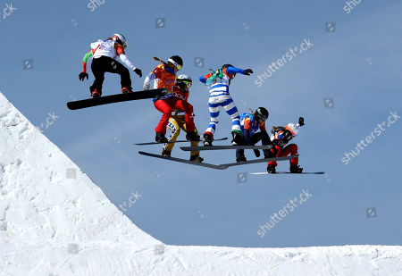 Stock Photo of From left; Alexandra Jekova, of Bulgaria, Chloe Trespeuch, of France, Eva Samkova, of the Czech Republic, Michela Moioli, of Italy, Lindsey Jacobellis, of the United States, and De Sousa Mabileau Julia Pereira, of France, run the course during the women's snowboard cross finals at Phoenix Snow Park at the 2018 Winter Olympics in Pyeongchang, South Korea