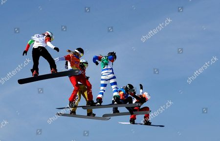 From left; Alexandra Jekova, of Bulgaria, Chloe Trespeuch, of France, Eva Samkova, of the Czech Republic, Michela Moioli, of Italy, Lindsey Jacobellis, of the United States, and De Sousa Mabileau Julia Pereira, of France, run the course during the women's snowboard cross finals at Phoenix Snow Park at the 2018 Winter Olympics in Pyeongchang, South Korea