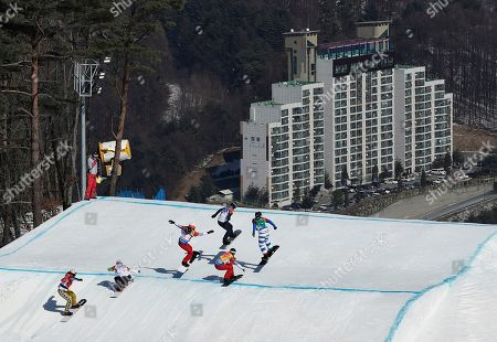 From left; Eva Samkova, of the Czech Republic, Alexandra Jekova, of Bulgaria, Chloe Trespeuch, of France, De Sousa Mabileau Julia Pereira, of France, Michela Moioli, of Italy, and Lindsey Jacobellis, of the United States, run the course during the women's snowboard cross finals at Phoenix Snow Park at the 2018 Winter Olympics in Pyeongchang, South Korea