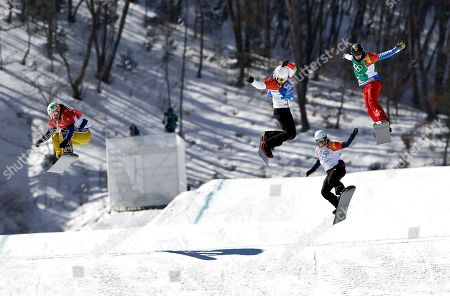 From left; Eva Samkova, of the Czech Republic, Alexandra Jekova, of Bulgaria, Zoe Gillings-Brier, of Great Britain, and Loccoz Nelly Moenne, of France, run the course during the women's snowboard quarterfinals at Phoenix Snow Park at the 2018 Winter Olympics in Pyeongchang, South Korea