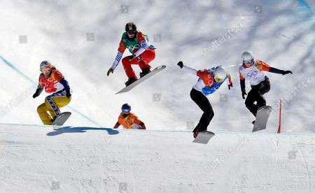 From left; Eva Samkova, of the Czech Republic, Alexandra Hasler, of Switzerland, Loccoz Nelly Moenne, of France, Alexandra Jekova, of Bulgaria, and Zoe Gillings-Brier, of Great Britain, run the course during the women's snowboard cross quarterfinals at Phoenix Snow Park at the 2018 Winter Olympics in Pyeongchang, South Korea