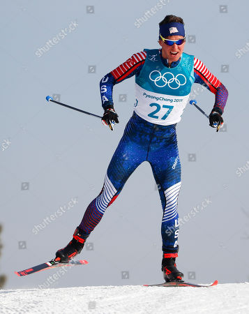 Stock Photo of Scott Patterson, of the United States, competes during the men's 15km freestyle cross-country skiing competition at the 2018 Winter Olympics in Pyeongchang, South Korea