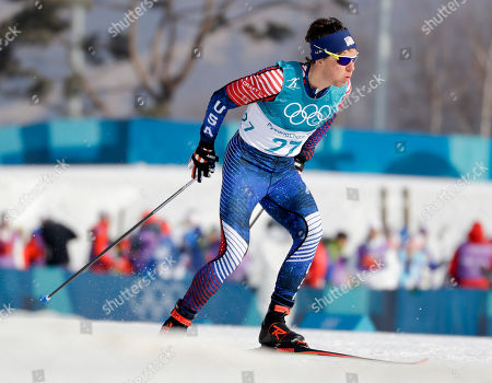 Scott Patterson, of the United States, competes during the men's 15km freestyle cross-country skiing competition at the 2018 Winter Olympics in Pyeongchang, South Korea