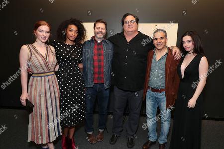 Stock Image of Annalise Basso, Shinelle Azoroh, Nick Offerman, Writer/Director/Producer Mark Pellington, John Ortiz and Mikey Madison