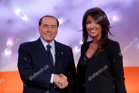 Stock Photo of Silvio Berlusconi and journalist Tiziana Panella