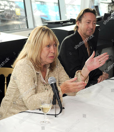 Julian Lennon (L) and mother Cynthia Lennon (R) at the Beatles story unveiling the new items they have given to the display