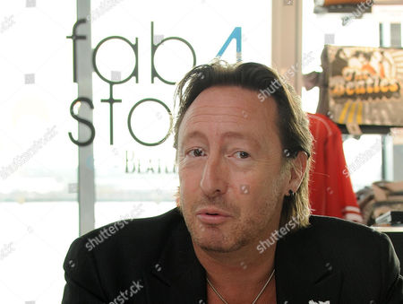 Julian Lennon at the Beatles story unveiling the new items they have given to the display