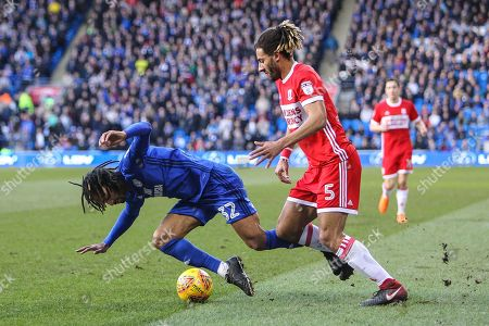 Ryan Shotton of Middlesbrough tackles Armand Traore of Cardiff City