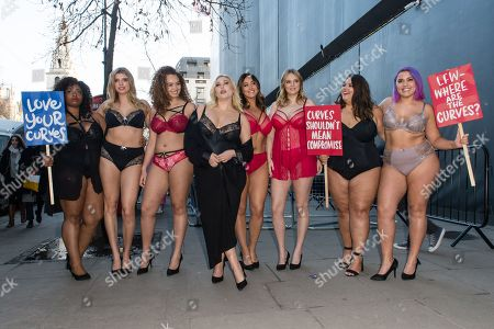 Editorial picture of Simply Be plus size models protest, London Fashion Week, UK - 16 Feb 2018