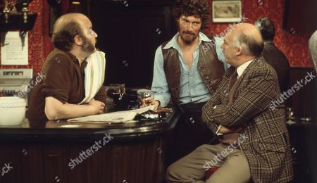 Ep 0180 Tuesday 23rd July 1974 Dry's mood turns sour when his estranged wife, Celia, tracks him down in The Woolpack - With Dryden Hogben, as played by Roy Boyd ; Amos Brearly, as played by Ronald Magill ; Henry Wilks, as played by Arthur Pentelow