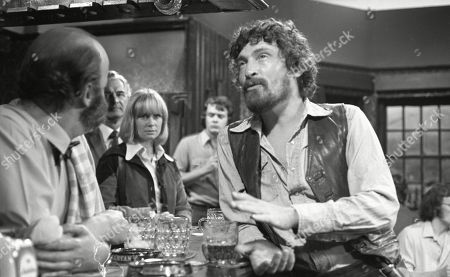 Ep 0180 Tuesday 23rd July 1974 Dry's mood turns sour when his estranged wife, Celia, tracks him down in The Woolpack - With Dryden Hogben, as played by Roy Boyd ; Amos Brearly, as played by Ronald Magill ; Celia, as played by Penelope Horner.