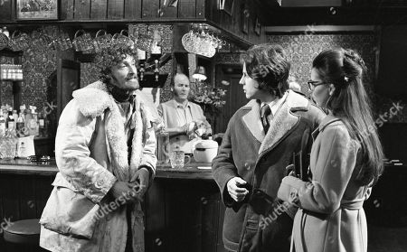 Ep 0133 Monday 4th February 1973 Joe and Christine bump into Dryden Hogben in the Woolpack, the man sleeping in a tent on Emmerdale Farm - With Dryden Hogben, as played by Roy Boyd ; Amos Brearly, as played by Ronald Magill ; Joe Sugden, as played by Frazer Hines ; Christine Sharp, as played by Angela Cheyne.