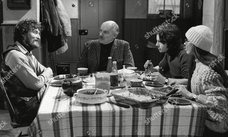 Ep 0133 Monday 4th February 1973 Dryden Hogben annoys Joe and Henry when he turns up at Emmerdale Farm and Christine invites him for lunch. They question him on his lifestyle and he shocks them by saying he has no desire to work. Henry calls him a parasite and tells him to get off his land, but Dryden shocks them further when he offers to help them muck out the cow shed in return for lunch - With Dryden Hogben, as played by Roy Boyd ; Henry Wilks, as played by Arthur Pentelow ; Joe Sugden, as played by Frazer Hines ; Christine Sharp, as played by Angela Cheyne.