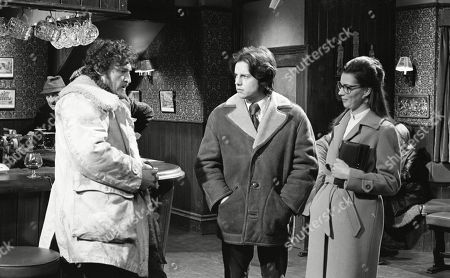 Ep 0133 Monday 4th February 1973 Joe and Christine bump into Dryden Hogben in the Woolpack, the man sleeping in a tent on Emmerdale Farm - With Dryden Hogben, as played by Roy Boyd ; Joe Sugden, as played by Frazer Hines ; Christine Sharp, as played by Angela Cheyne.