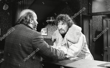 Ep 0133 Monday 4th February 1973 Dryden Hogben teases Amos in The Woolpack - With Dryden Hogben, as played by Roy Boyd ; Amos Brearly, as played by Ronald Magill