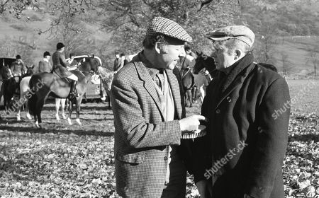 Ep 0124 Tuesday 1st January 1974 The Beckindale Hunt is held on the village green outside The Woolpack - With Harry, as played by Harry Towb ; Sam Pearson, as played by Toke Townley