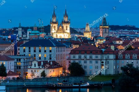 View over the towers and roofs of historic centre, Prague, Czech Republic