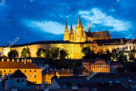 View over the historic centre to the castle, Prague, Czech Republic