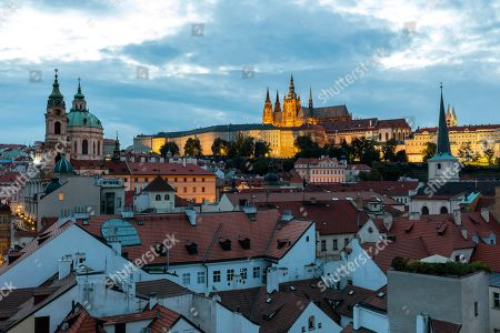 View over the old houses to the castle, Prague, Czech Republic